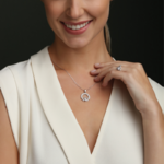 a model wearing Solvar april birthstone white crystal claddagh necklace  and ring
