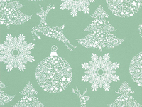 50CM X 100M GREEN PAPER WITH WHITE BAUBLES/TR