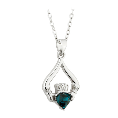 RHODIUM PLATED CLADDAGH BIRTHSTONE - MAY