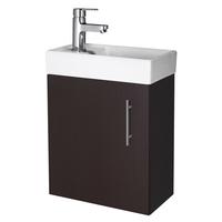 400mm Minimalist Compact Wall Hung Vanity Unit & Basin Ebony