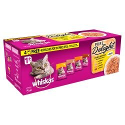 Whiskas 1+ Pouch Pure Delights Poultry Selection in Jelly 85g 40 for 36 Mega Pack