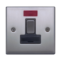 FEP Low Profile Satin Chrome 13A Switch Fused Spur with Neon Black Insert Chrome Switch | LV0801.0016