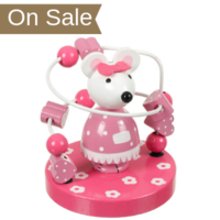 Wooden pink mouse bead maze