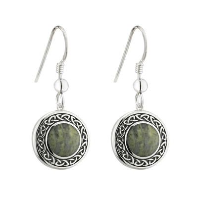 S/S CONNEMARA MARBLE ROUND CELTIC DROP EARRINGS