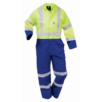 Hi Vis Day/Night Fluoro Polycotton Zip Overall 240gsm