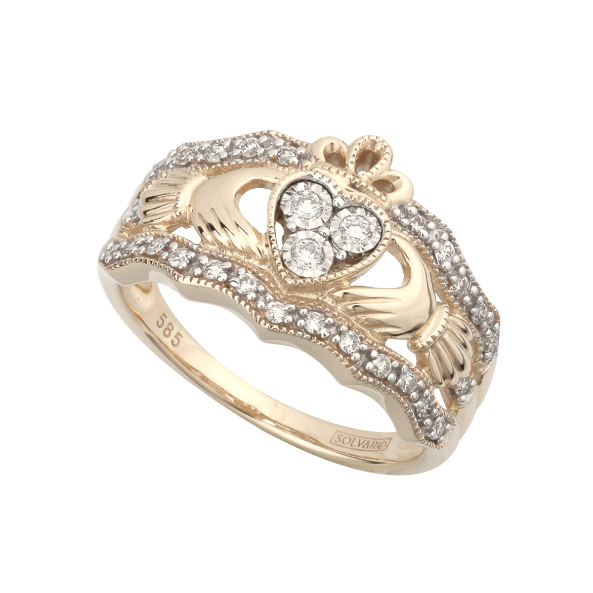 ladies 14k gold diamond wide claddagh ring s21023 from Solvar