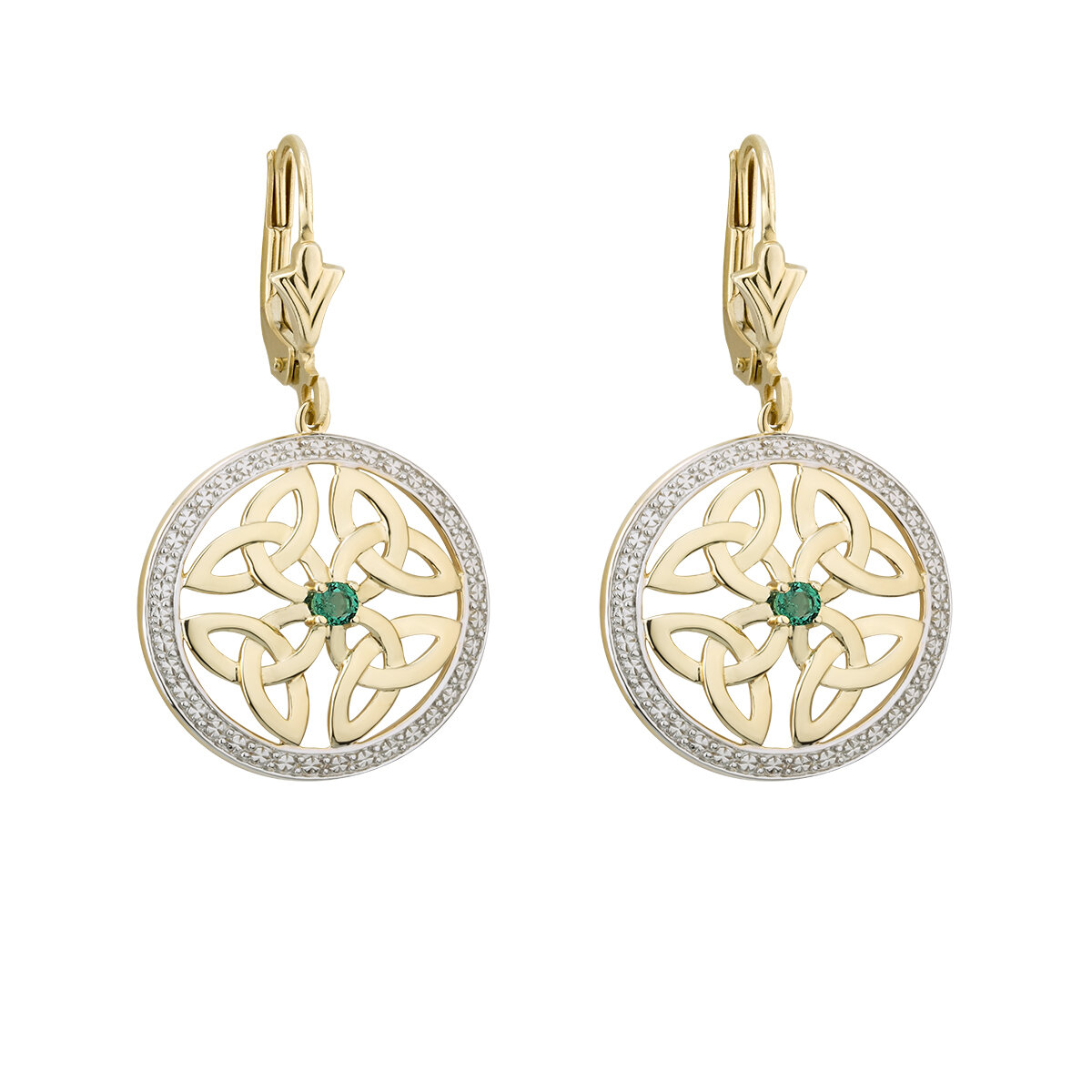 14K gold emerald round trinity knot earrings s33951 from Solvar