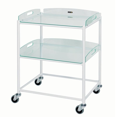 Dressing Trolley 66x52x86cm 2 Glass Effect Trays