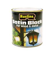 RUSTINS QUICK DRYING BLACK SATIN PAINT PAINT 500ML