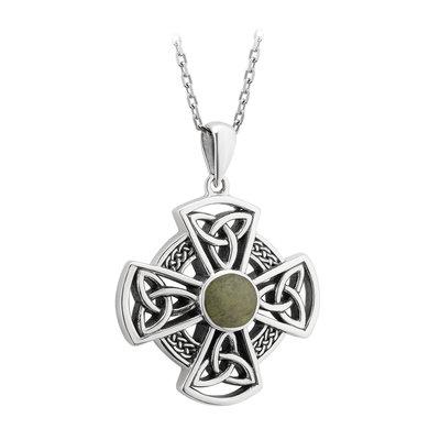 sterling silver connemara marble celtic cross pendant s46624 from Solvar