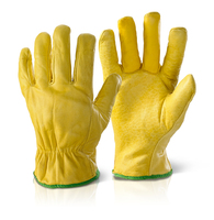 Yellow Hide Full Leather Drivers Glove