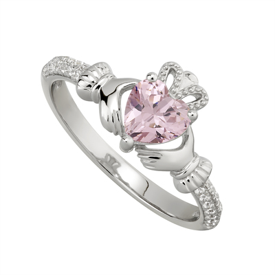 ROSE CLADDAGH RING (OCTOBER BIRTHSTONE)