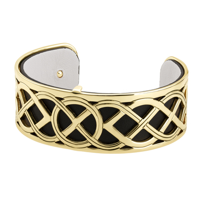 GOLD PLATED LEATHER CELTIC KNOT CUFF BANGLE