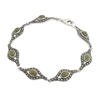 sterling silver connemara marble and marcasite celtic bracelet s5726 from Solvar