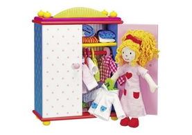 Dress-up Doll with Wardrobe and Outfits