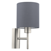 EGLO Satin Nickel and Grey Shade Wall Light Round IP20 | LV1902.0106