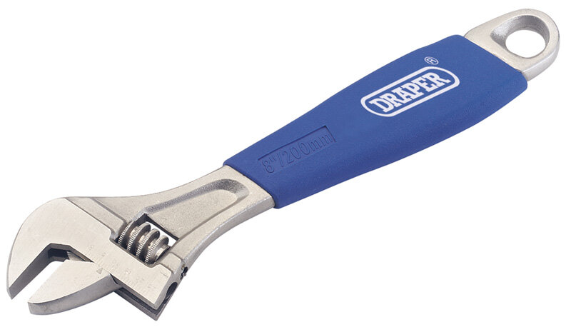 Draper Trade Adjustable Wrench 8 inch / 200mm Soft Grip