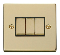 Click Deco Victorian Polished Brass with Black Insert 3 Gang 2 Way 'Ingot' Switch | LV0101.0174