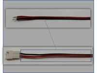 2 CORE RED AND BLACK  LED CABLE LEAD  300 MM AWG20 LESS CONNECTOR
