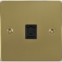 Flat Plate Polished Brass RJ11 TEL Socket Black|LV0701.0151