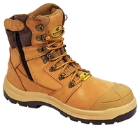 Mustang 7120Z Nitrile Sole 300°C Lace Up Zip Safety Boot with Scuff Cap Wheat