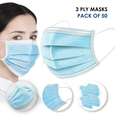 3 Ply Disposable Protective Mask (Pack of 50)