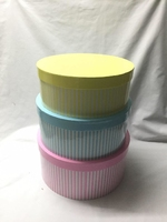 HAT BOX PINK/BLUE/YELLOW SET OF 3 BOXES **AVAILABLE OCTOBER**