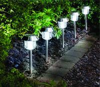 Stainless Steel Solar Lights 5Pk White