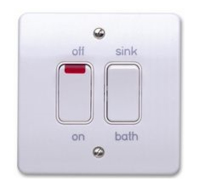 MK LOGIC PLUS SWITCHES >10A  20A DUAL SWITCH NEON FOR CONTROLLING IMMERSION HEATERS