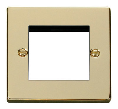 Click Deco Victorian Polished Brass 1 Gang Twin Aperture DATA Plate | LV0101.0194