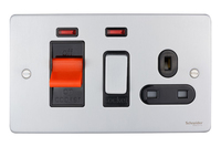 Schneider Ultimate Low Profile small cooker switch with neon Brushed Chrome with Black Insert | LV0701.0226