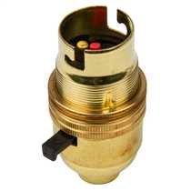 Lampholder 3013E Brass Lamp Holder B22 Switch