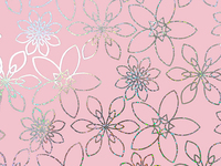 50CM X 100M PINK WITH SILVER FLOWER HOLO