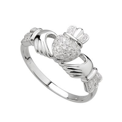 14K WG MICRO DIA CLADDAGH RING