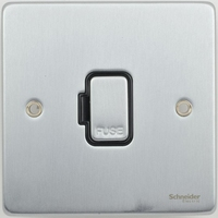 Schneider Ultimate Low Profile Fused Spur without switch Brushed Chrome with Black Insert | LV0701.0224