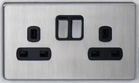 DETA Screwless 2 Gang Socket Satin Chrome Black Insert | LV0201.0433