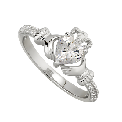 CRYSTAL CLADDAGH RING (APRIL BIRTHSTONE)