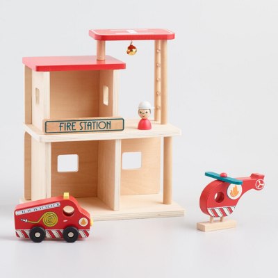 Wooden Fire Station - close up of fire engine