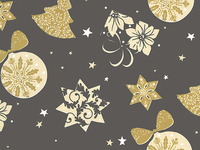 50CM X 100M  BLACK WITH GOLD XMAS DESIGNS