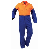 Hi Vis Day Only Plastic Zip Fluoro Polycotton Overall 270gsm