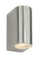DORON TWIN WALL IP44 2X35 WATT GU10 UP/DOWN WALL LIGHT STAINLESS STEEL (BULBS NOT INCLUDED)
