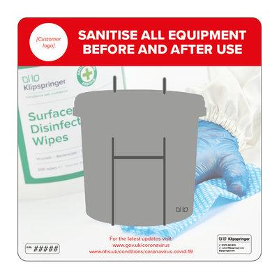 Wall mounted equipment sanitiser station - single wipe bucket dispenser