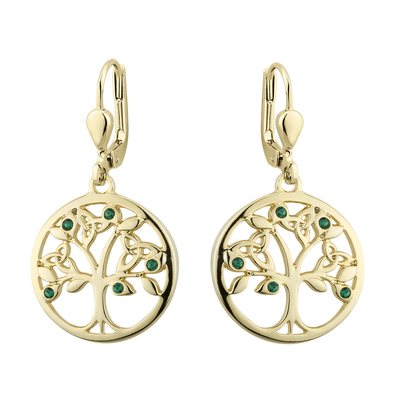 GOLD PLATED CRYSTAL TREE OF LIFE DROP EARRINGS