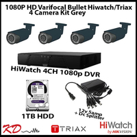 4 Camera CCTV 1080 Varifocal Bull Kit - Grey