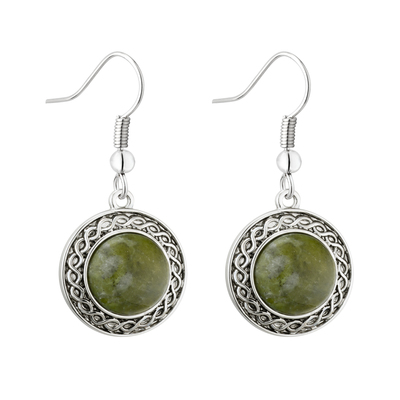 RHODIUM CONNEMARA MARBLE CELTIC DROP EARRINGS
