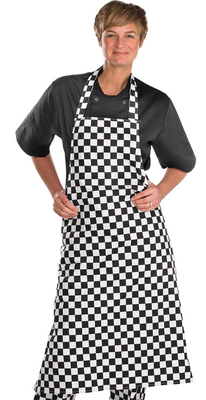 "Chefs Bib Apron Black/White 28"" wide x 40"" high"