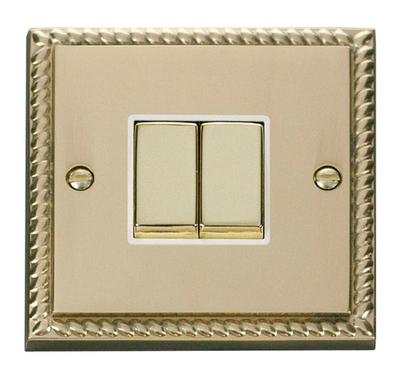 Click Deco Georgian Cast Brass with White Insert 2 Gang 2 Way 'Ingot' Switch | LV0101.0053