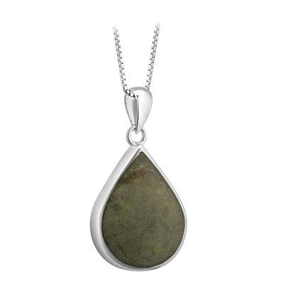 sterling silver tear drop connemara marble pendant s46617 from Solvar