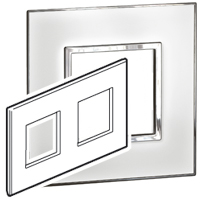 Arteor (British Standard) Plate 2x2m 2 Gang C Mirror White | LV0501.0169
