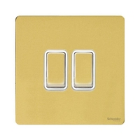 Schneider Ultimate Screwless 2Gang 2way Switch Polished Brass Whi|LV0701.0906